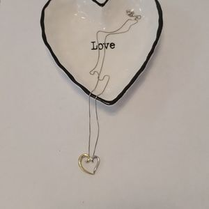 NWT Silver and Gold Two Tone Heart Necklace